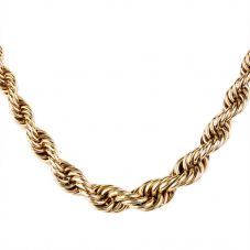 Second Hand 9ct Yellow Gold Graduated Rope Chain Necklace 4103171