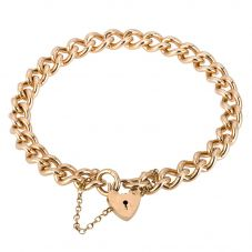 Second Hand 9ct Yellow Gold Curb Chain Bracelet 4107002