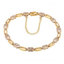 Second Hand 18ct Two Colour Gold Diamond Bracelet 4107026