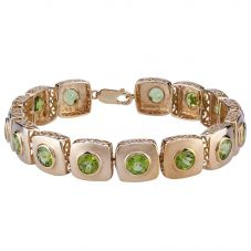 Second Hand 9ct Yellow Gold Peridot Bracelet 4107034