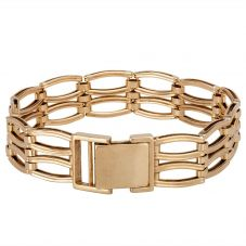 Second Hand 9ct Yellow Gold Two Row Gate Bracelet 4107117