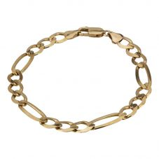 Second Hand 9ct Yellow Gold 7.5 Inch Figaro Chain Bracelet 4107146