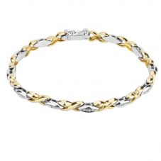 Second Hand Two Colour Diamond Set Kiss Link Bracelet 4107182