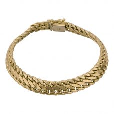 Second Hand 9ct Yellow Gold Fancy Double Curb Bracelet 4107203