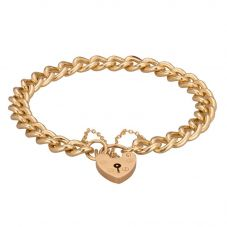Second Hand 9ct Yellow Gold 7 Inch Curb and Padlock Chain Bracelet 4107223