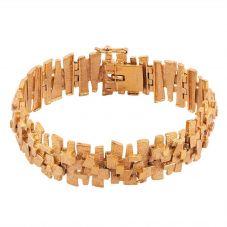 Second Hand 9ct Yellow Gold 6.25 Inch Fancy Bark Bracelet 4107250