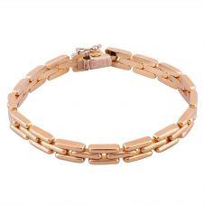 Second Hand 9ct Yellow Gold 7.5 Inch Three Row Brick Link Bracelet 4107252