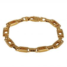 """Second Hand 9ct Yellow Gold 7.5"""" Alternating Links Bracelet HGM14/01/01(10/18)"""