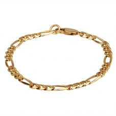 """Second Hand 9ct Yellow Gold 7.5"""" Flat Curb Figaro Chain Bracelet HGM15/02/19(11/18)"""
