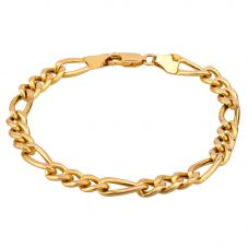 """Second Hand 9ct Yellow Gold 8"""" Hollow Figaro Curb Chain Bracelet HGM20/01/04(01/19)"""