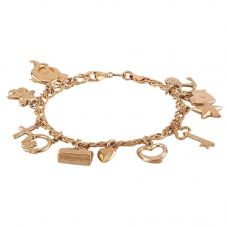 "Second Hand 9ct Yellow Gold 7"" Multi-Charm Bracelet D516446(448)"