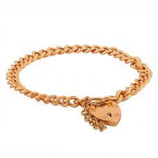 "Second Hand Yellow Gold 7"" Curb Chain Padlock Bracelet L511522(443)"