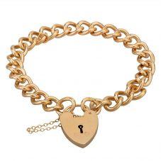 Second Hand 9ct Yellow Gold 7 Inch Heart Padlock Heavy Curb Bracelet J511169(451)