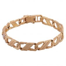 Second Hand 9ct Yellow Gold Mens 8.5 Inch Lined Curb Chain Bracelet 4108010