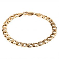 "Second Hand 9ct Yellow Gold 8"" Square Shaped Flat Curb Chain Bracelet HGM16/01/05"