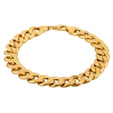 """Second Hand 9ct Yellow Gold 8"""" Hollow Flat Curb Chain Bracelet HGM20/02/04(01/19)"""