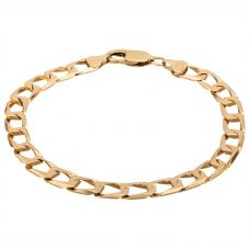 """Second Hand 9ct Yellow Gold 8"""" Square Flat Curb Chain Bracelet HGM24/01/02(03/19)"""