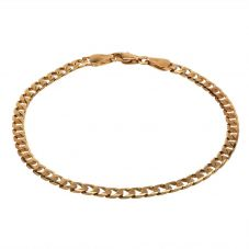 """Second Hand 9ct Yellow Gold 8"""" Square Flat Curb Chain Bracelet HGM24/02/06(03/19)"""