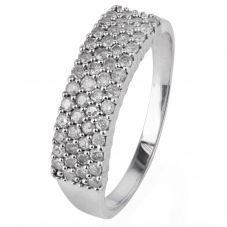 Second Hand 9ct White Gold Diamond Four Row Ring 4111059
