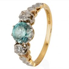 Second Hand Blue Zirconnia and Diamond Three Stone Ring 4111331