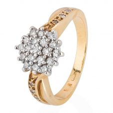 Second Hand 9ct Yellow Gold Diamond Cluster Ring 4111389
