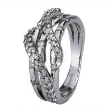 Second Hand 9ct White Gold Diamond Three Row Ring 4111403