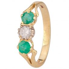 Second Hand 18ct Yellow Gold Emerald and Diamond Ring 4111678