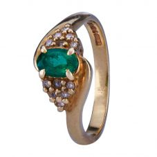 Second Hand Synthetic Emerald and Diamond Ring 4111725