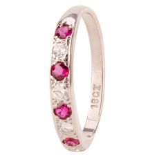 Second Hand Ruby and Diamond Half Eternity Ring 4111794