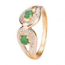 Second Hand 9ct Yellow Gold Emerald and Diamond Ring 4111859