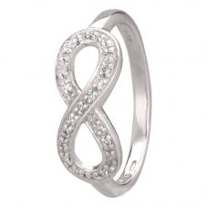 Second Hand 9ct White Gold Diamond Set Infinity Ring 4111983