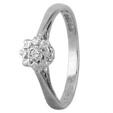 Second Hand 18ct White Gold Illusion Set Diamond Ring D604079(442)