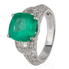 Second Hand 18ct White Gold Emerald and Diamond Ring 4112179