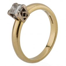 Second Hand 18ct Yellow Gold Princess Cut Diamond Solitaire Ring 4112243