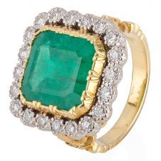Second Hand Emerald and Diamond Cluster Ring 4112255