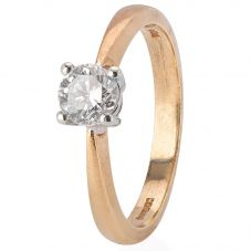 Second Hand 9ct Yellow Gold Diamond Solitaire Ring 4112365