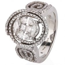 Second Hand 18ct White Gold Diamond Cluster Ring 4112386