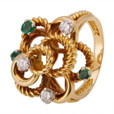 Second Hand 18ct Yellow Gold Emerald and Diamond Ring 4112402