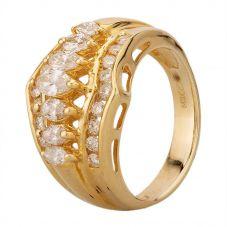 Second Hand 14ct Yellow Gold 1.25ct Diamond Three Row Ring MG(5183)