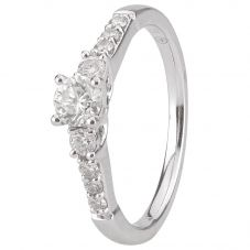 Second Hand 18ct White Gold Diamond Shouldered Ring 4112463
