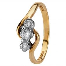 Second Hand 18ct Yellow Gold Diamond Three Stone Ring 4112469