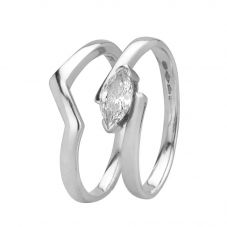 Second Hand Platinum 0.30ct Marquise Cut Diamond Bridal Set 4112603