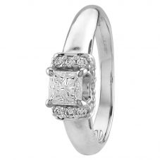 Second Hand 18ct White Gold 0.45ct Princess Cut Diamond Solitaire Ring Q600504(440)