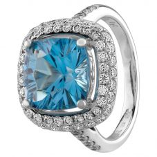 Second Hand 18ct White Gold Blue Topaz and Diamond Halo Ring Q600506(440)