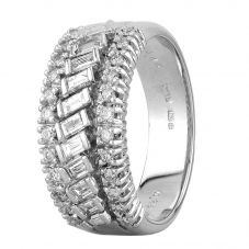 Second Hand 18ct White Gold Baguette Brilliant 0.69ct Diamond Half Eternity Ring D604049(440)