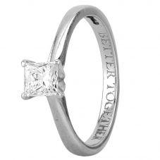 Second Hand Platinum 0.55ct Princess Cut Diamond Solitaire Ring D604069(442)