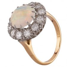 Second Hand Yellow Gold Opal and 1.00ct Diamond Cluster Ring D516449(448)