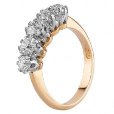 Second Hand 18ct Yellow Gold 1.00ct Old Cut Diamond Half Eternity Ring G607018(449)