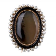 Second Hand Moss Agate and Seed Pearl Brooch 4113150