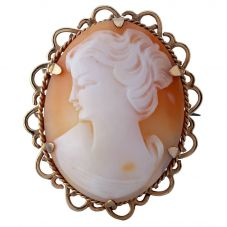 Second Hand 9ct Yellow Gold Large Cameo Brooch N408049(378)
